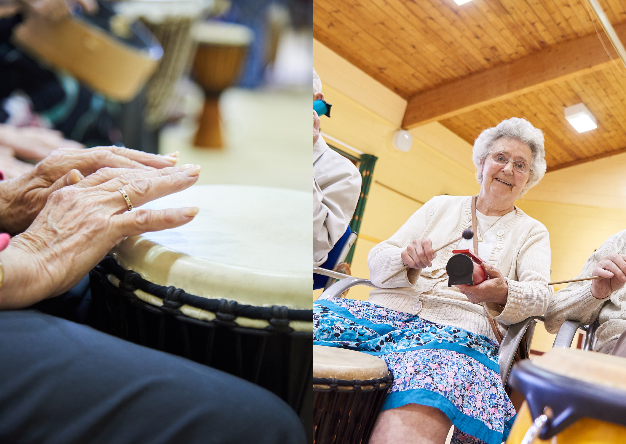 Members enjoying a drumming workshop at Chrysalis Club Tynedale